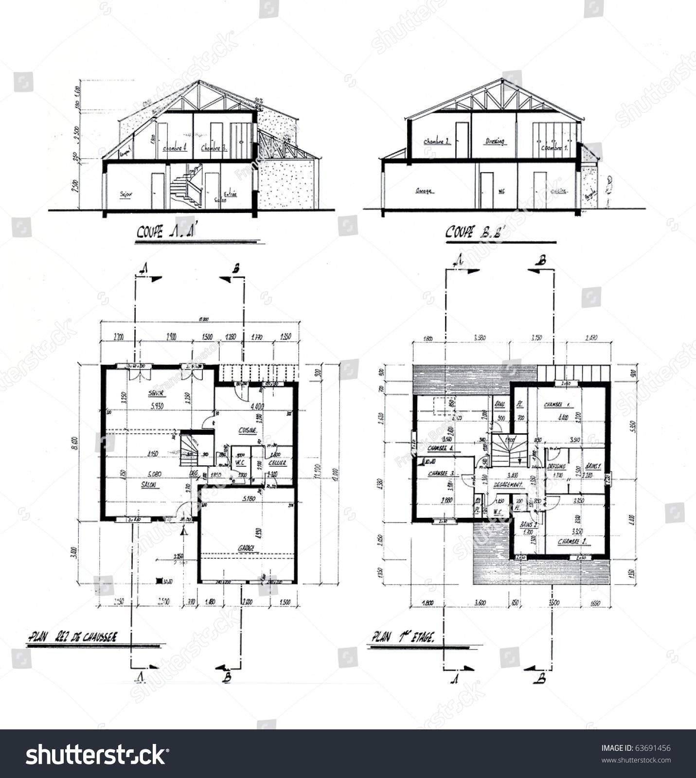 Architecture blueprint explanations handwritten french stock architecture blueprint with explanations handwritten in french malvernweather Images