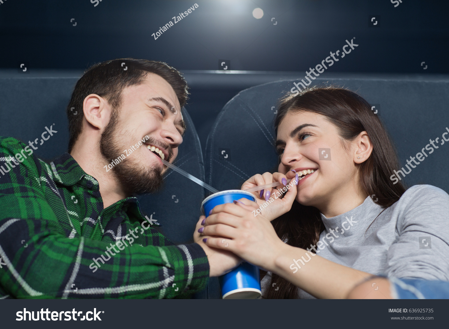 Happy Young Loving Couple Laughing Drinking Stock Photo Edit Now