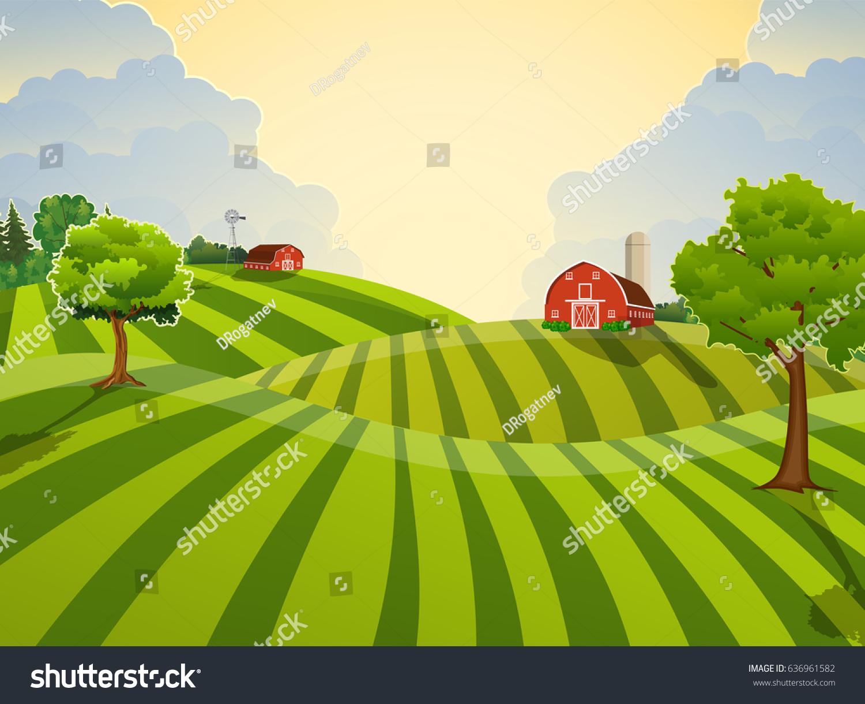 Cartoon Farm Field Green Seeding Field Stock Vector 636961582 ... for Farm Field Cartoon  56mzq