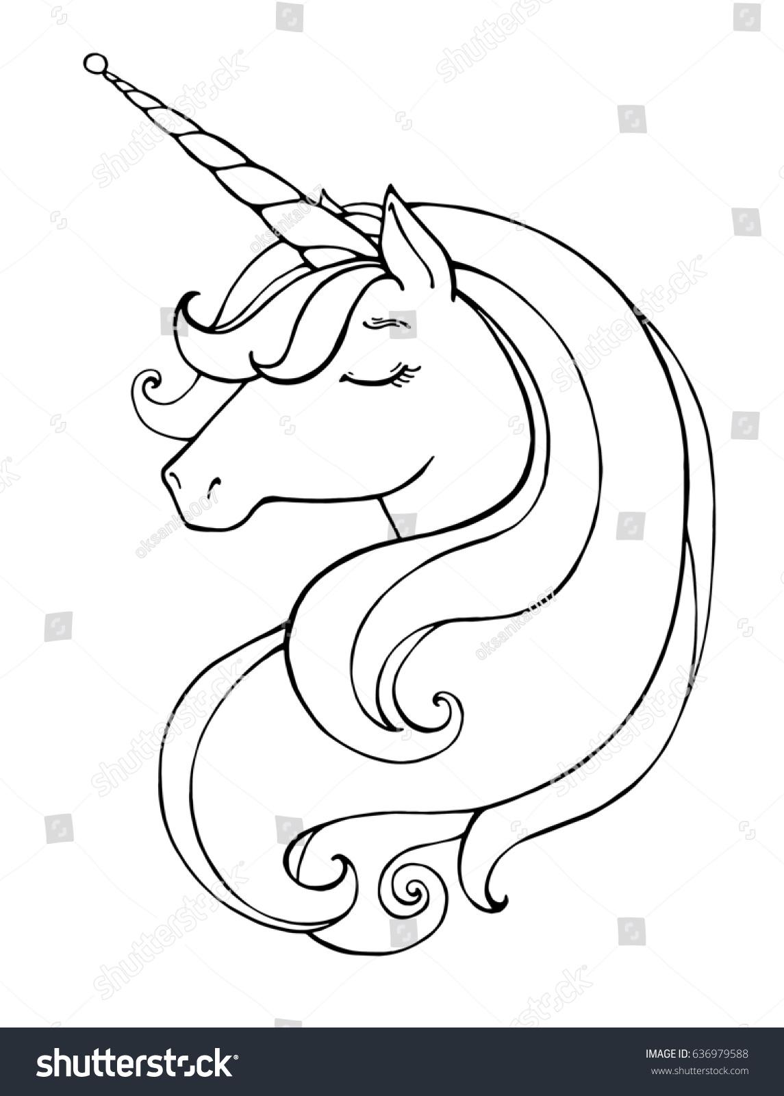 Unicorn Magical Animal Vector Artwork Black Stock Vector 636979588 ...