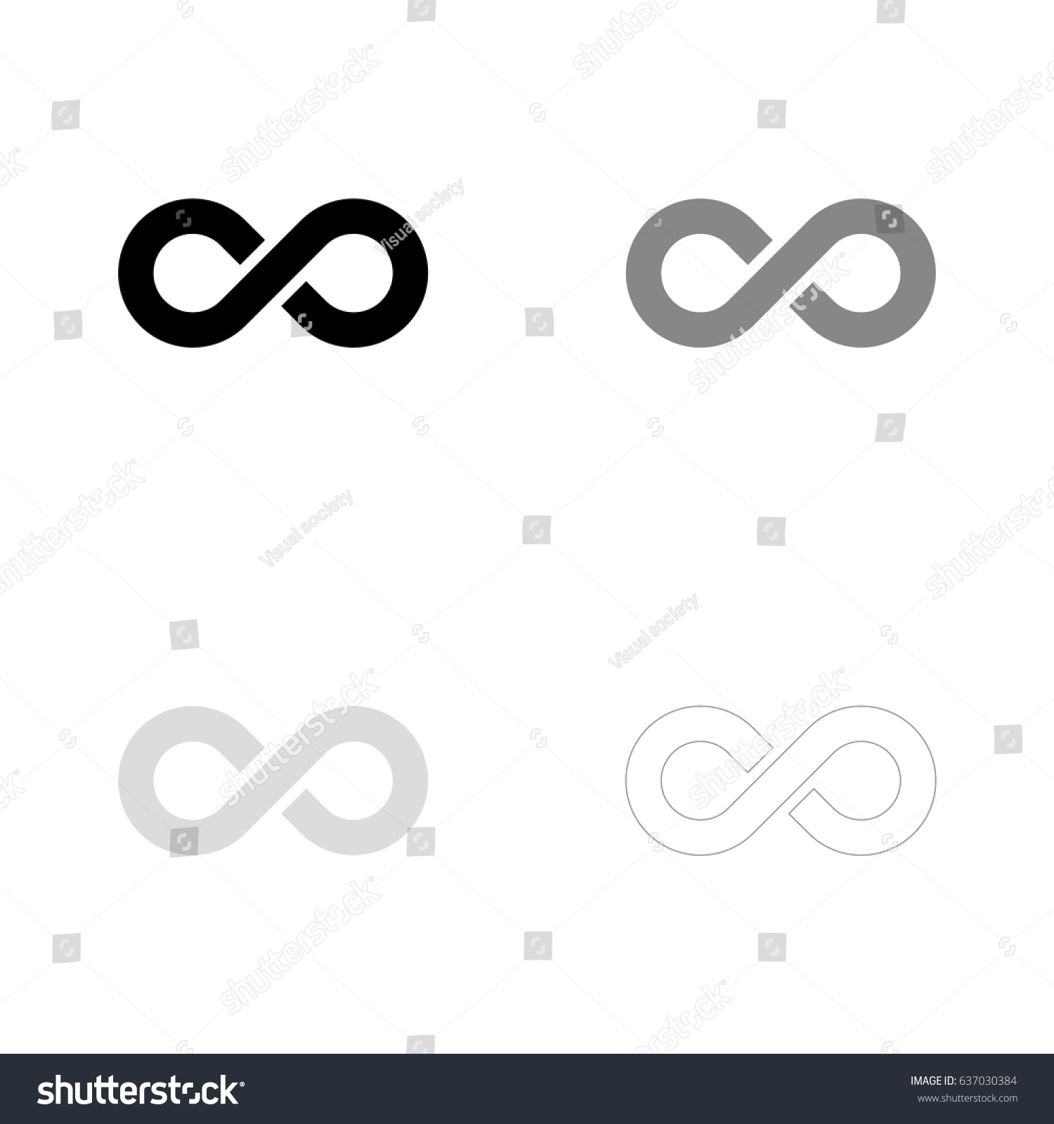Infinity symbol in black, gray and line art. Vector illustration, easy to edit. #637030384