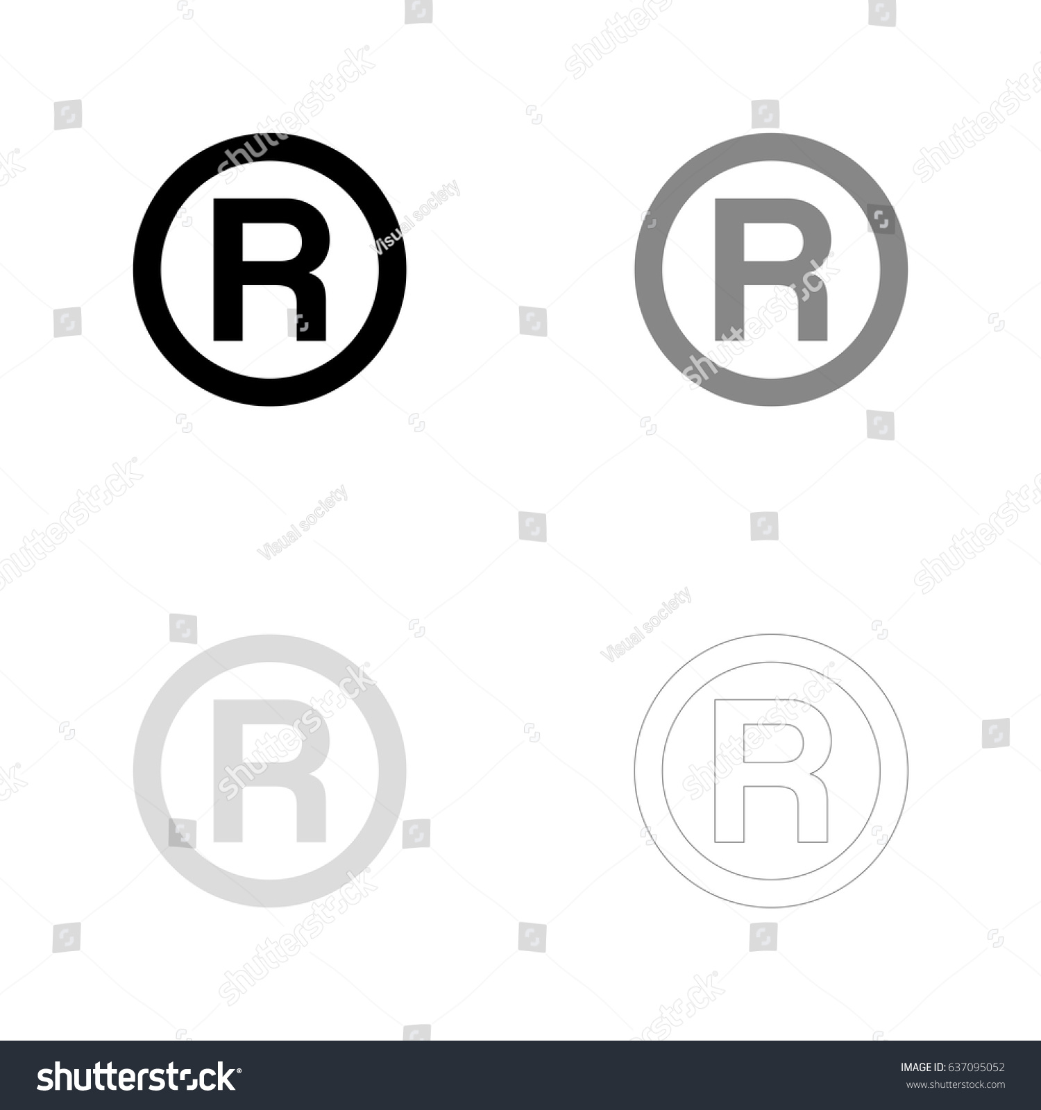 R Registered Trademark Symbol Black Gray Stock Vector Royalty Free