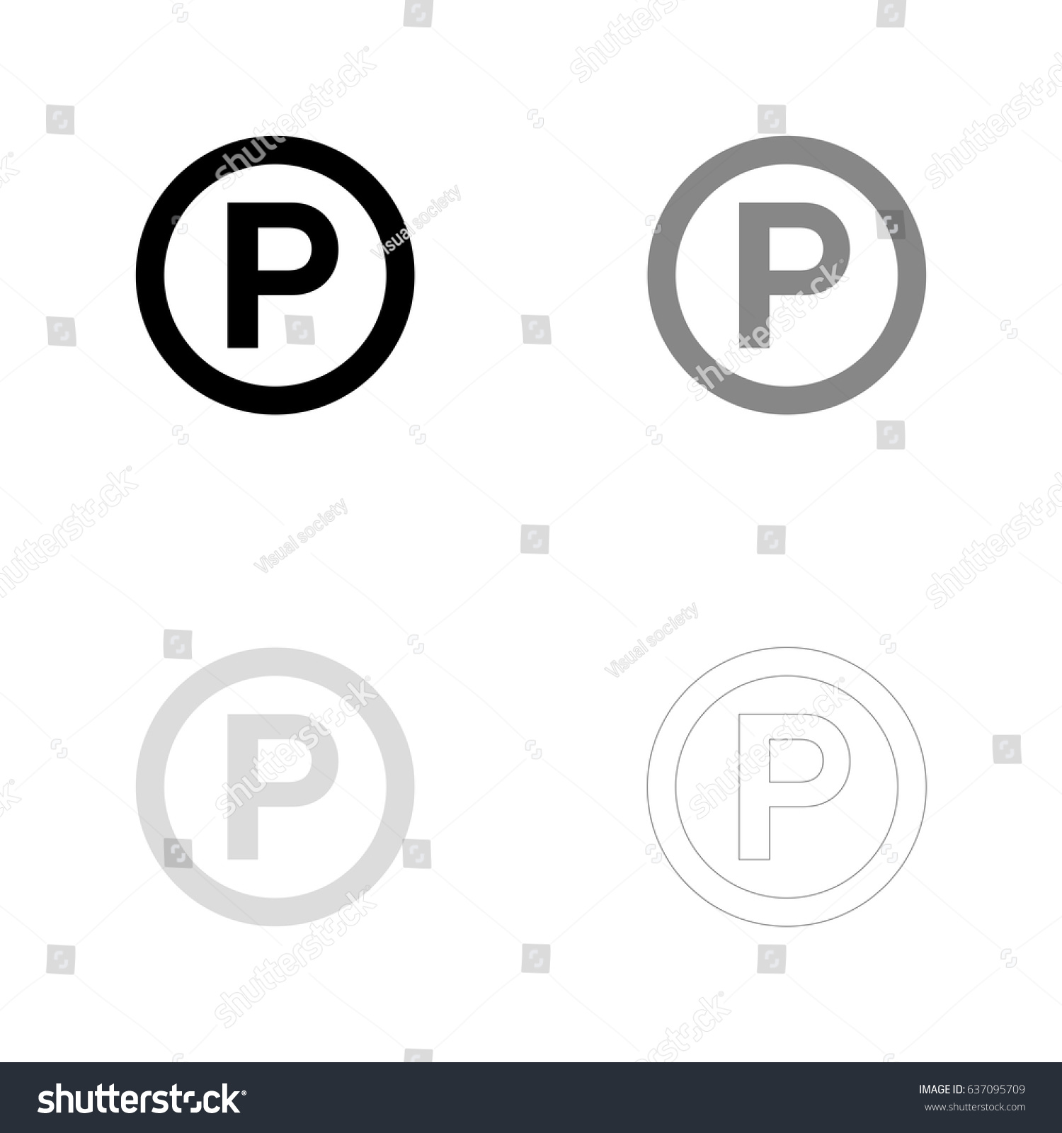 P Sound Recording Copyright Symbol Black Stock Vector Royalty Free