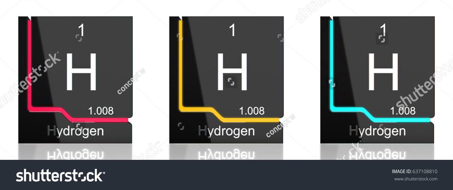 Hydrogen Element Symbol Periodic Table Three Stock Illustration