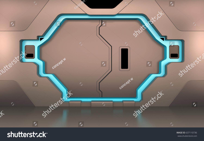 Futuristic Metallic Door Gate Entrance Spaceship Stock