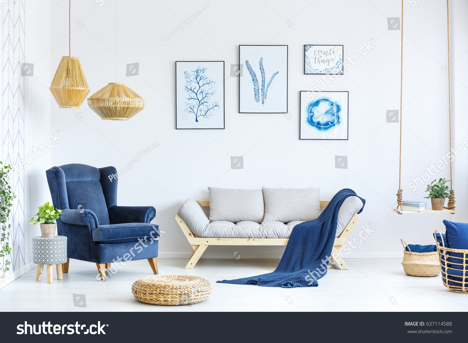 White Blue Living Room Sofa Armchair Stock Photo (Royalty Free ...