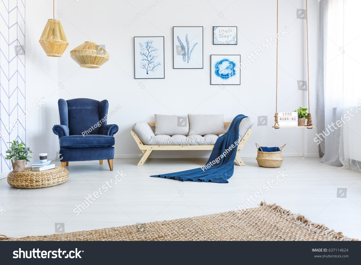 White Home Interior Sofa Armchair Posters Stock Photo 637114624