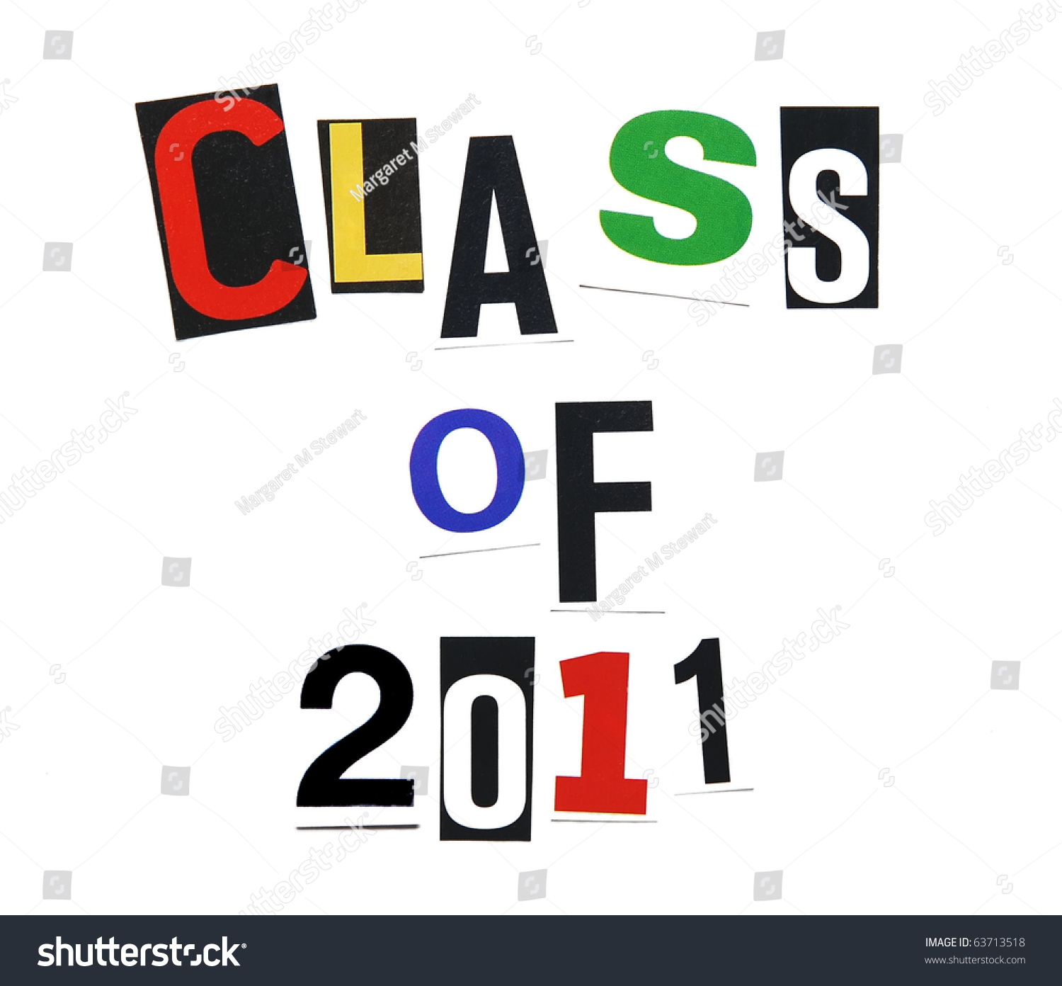 Class 2011 Written Mix Colorful Cutout Stock Photo