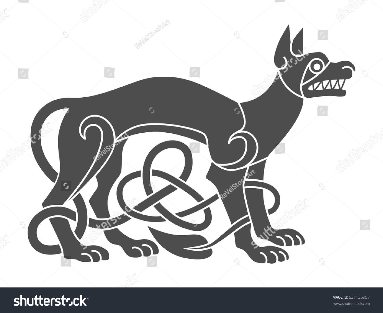 Ancient Celtic Mythological Symbol Wolf Dog Stock Vector Royalty
