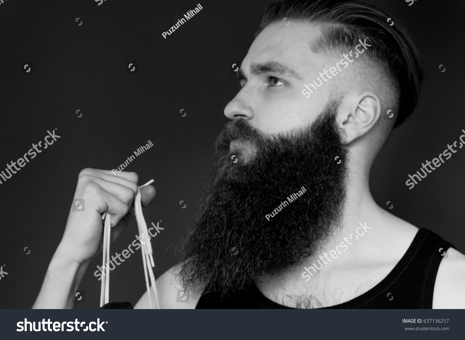 Black white profile bearded man hands stock photo edit now 637136257