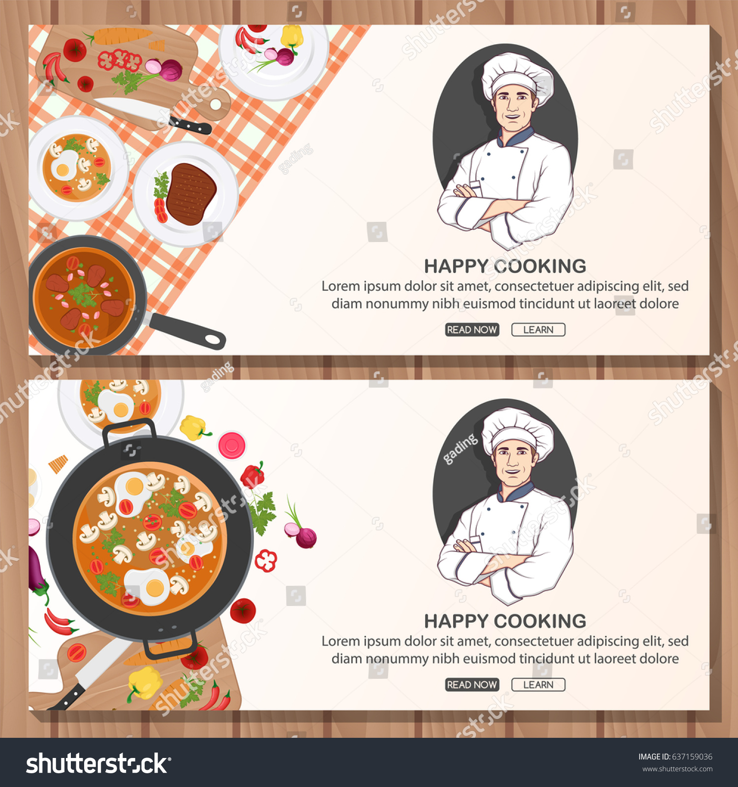 Cooking Banner Template Chef Logo Design Stock Vector Royalty Free 637159036