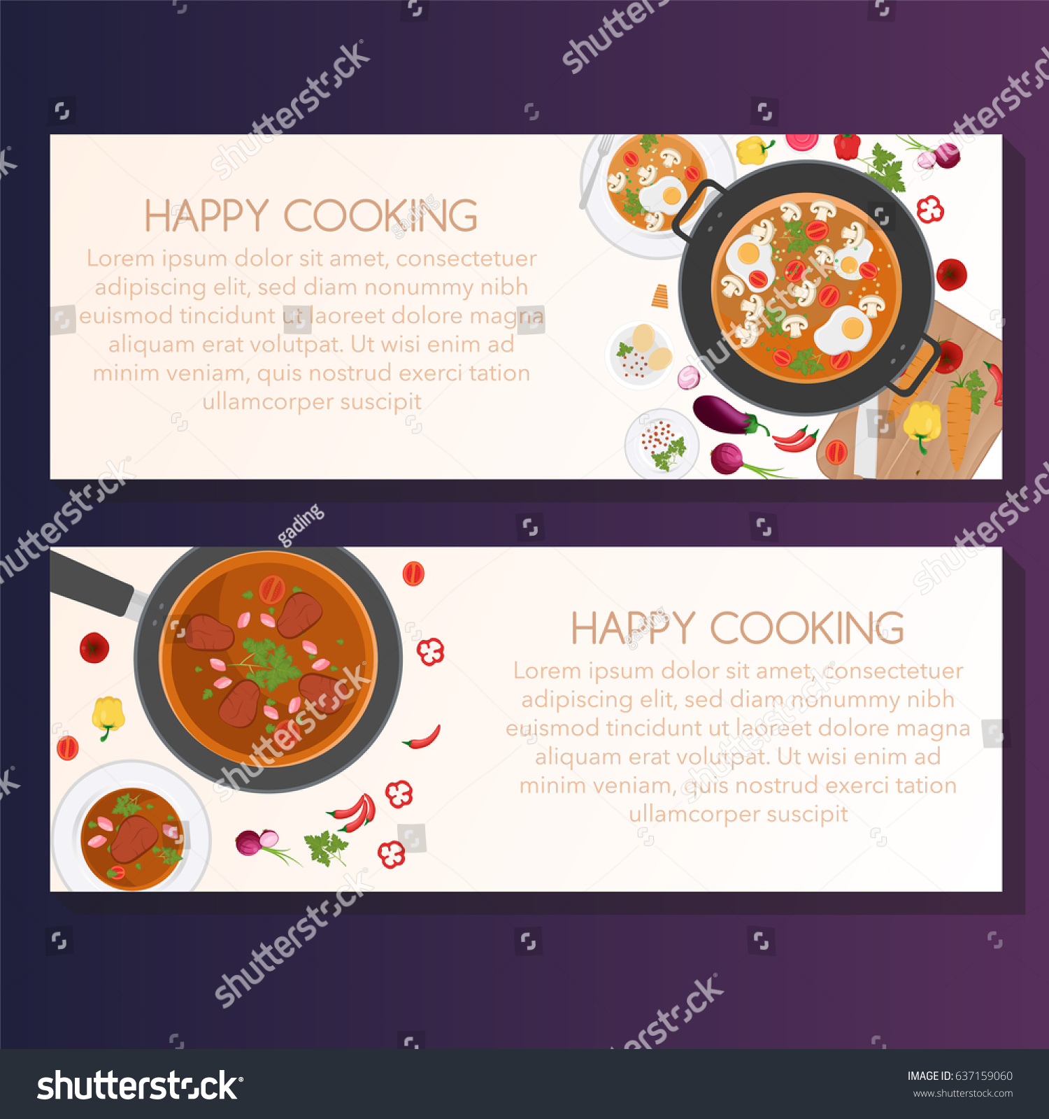 Cooking Banner Template Vector Illustration Set Stock Vector Royalty Free 637159060
