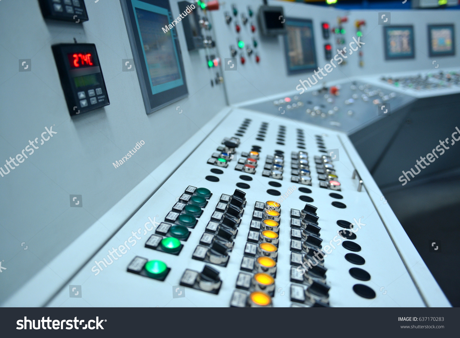 Electrical Control Panel Buttons Levers Stock Photo (100% Legal ...