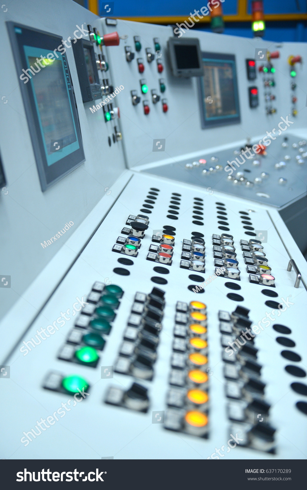 Electrical Control Panel Buttons Levers Stock Photo & Image (Royalty ...