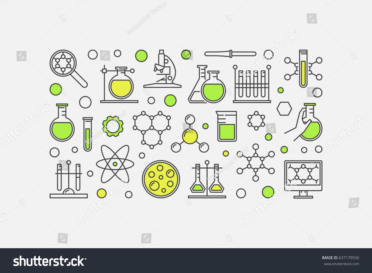 Chemistry lab colorful illustration vector science stock vector chemistry lab colorful illustration vector science and experiment minimal background made with linear icons ccuart Images