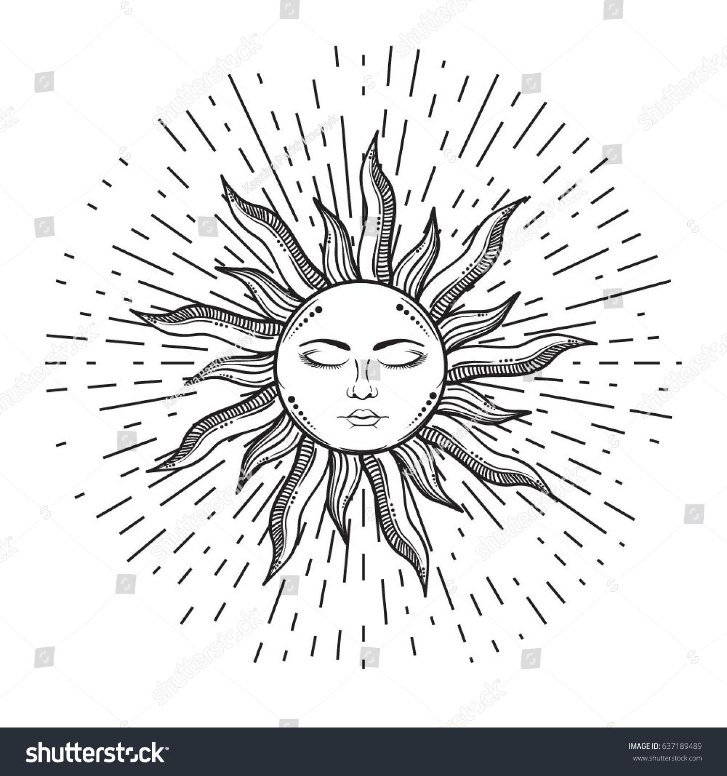 beautiful elegant sun face symbol tattoo stock vector