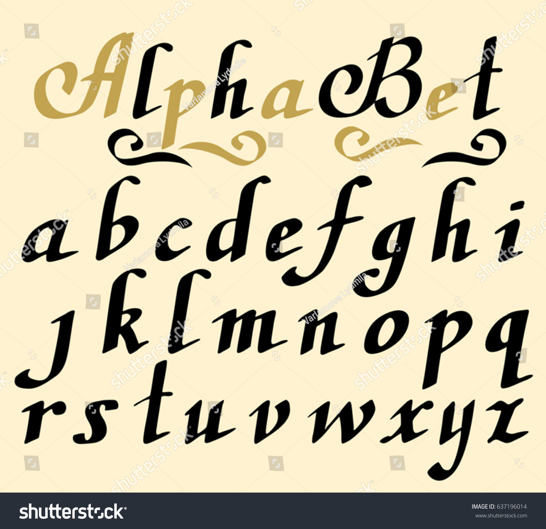 Hand lettering alphabet design handwritten brush stock