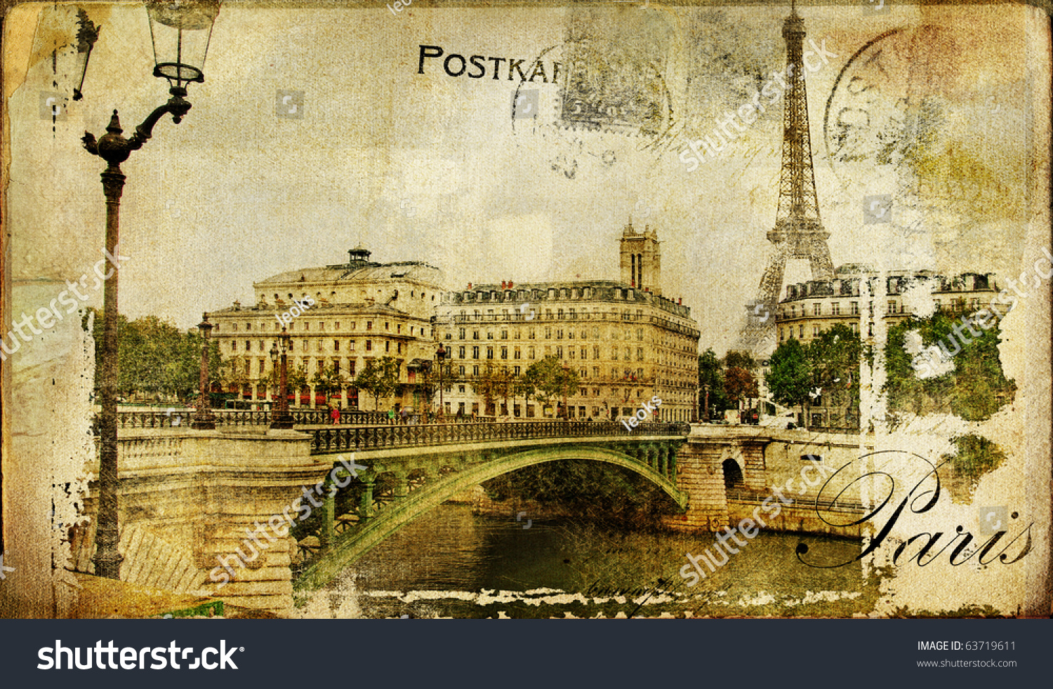 Paris Paris Vintage Photoalbum Series Stock Illustration