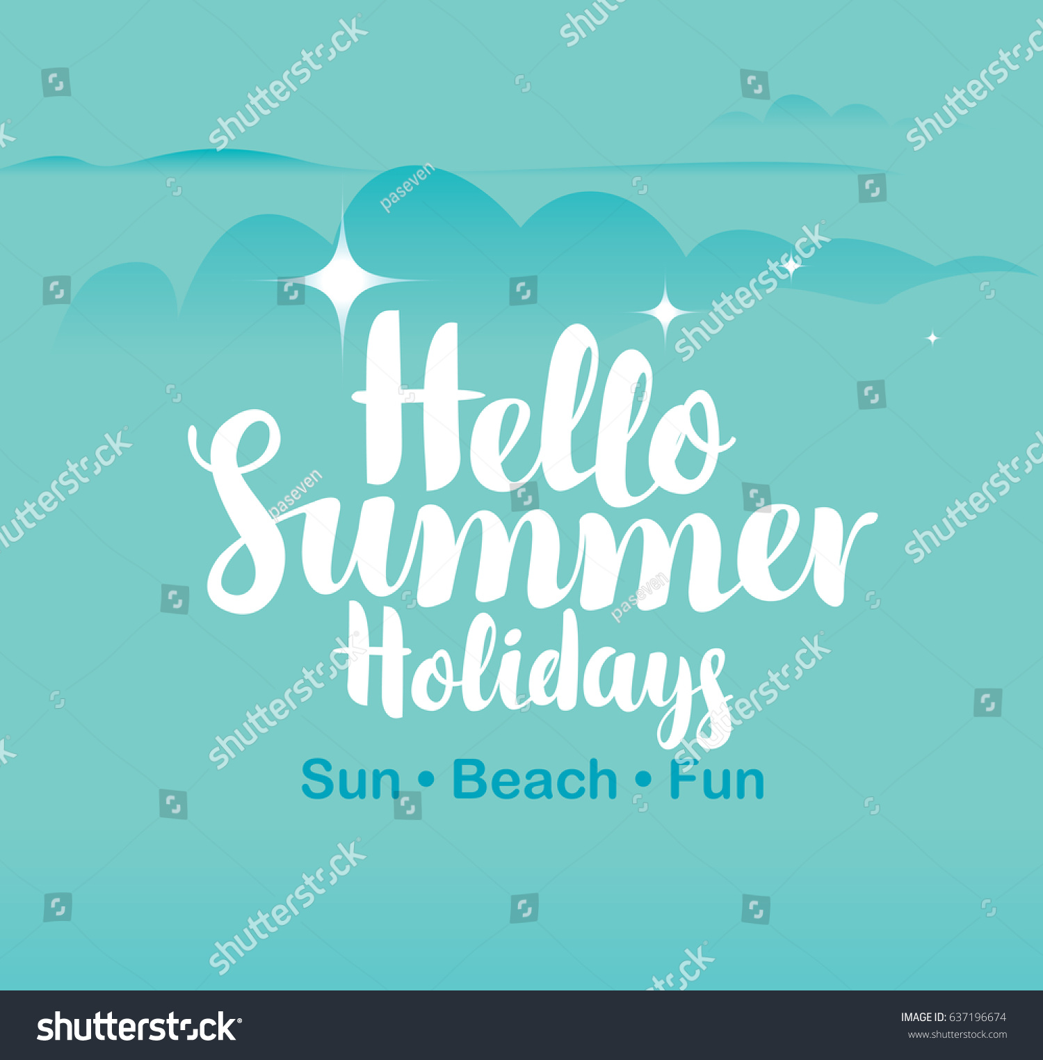 Vector Travel Banner With Sky, Clouds, Stars, And The Words Hello Summer  Holidays