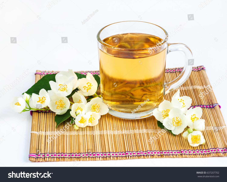Cup Jasmine Tea Jasmine Flowers On Stock Photo Edit Now 637207702