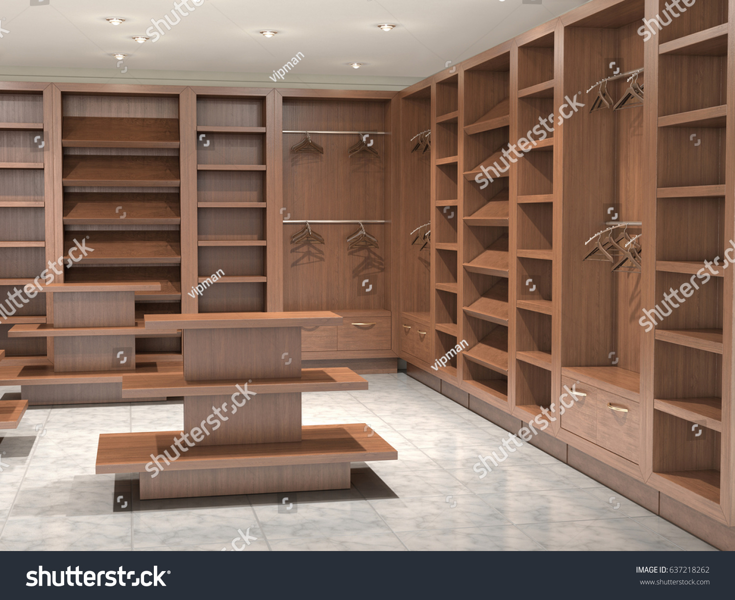 Store Inside Empty With Wooden Shelves 3d Illustration