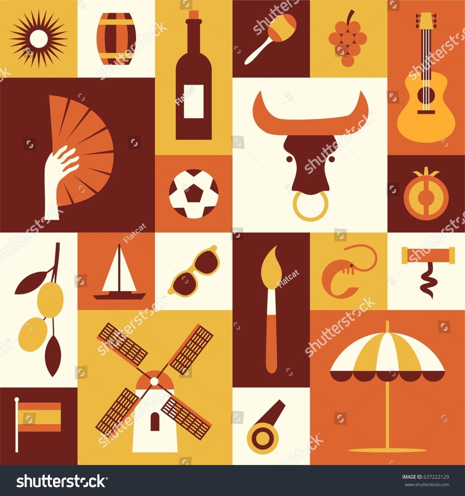 Spanish Cultural Symbols Set Flat Icons Stock Vector Royalty Free