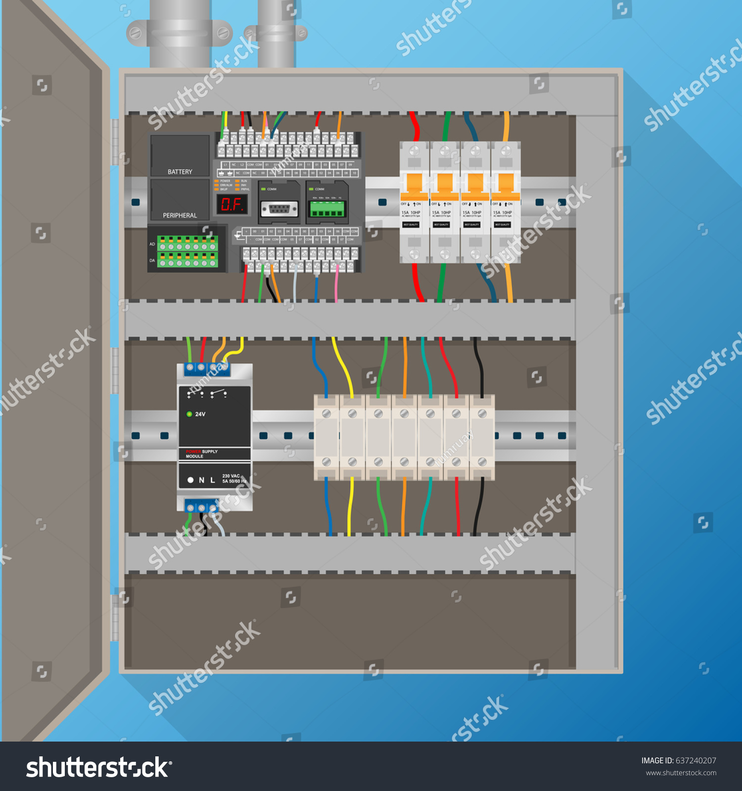 Plc Control System Electric Cabinet Stock Vector 637240207 ...