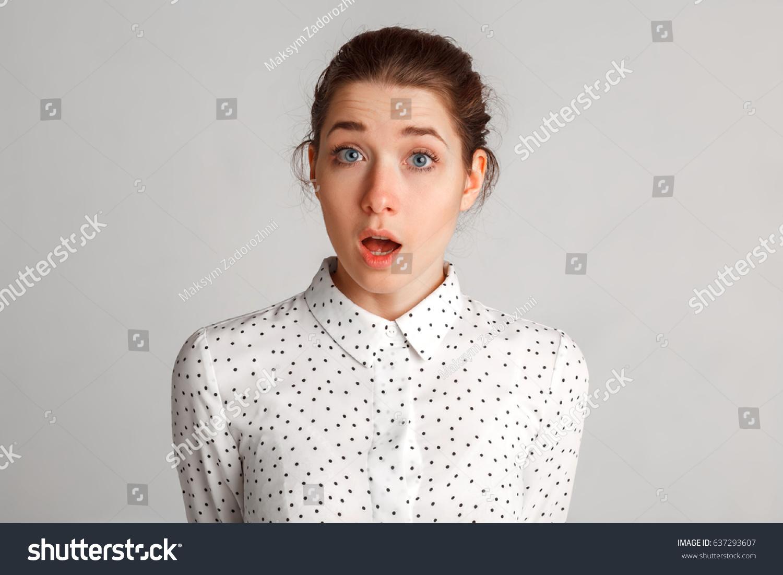 Smiling Emotional Businesswoman On Gray Background Stock Photo Edit