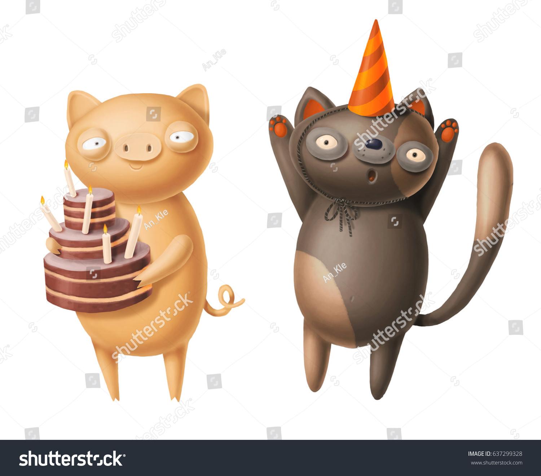 happy birthday card cat pig stock illustration 637299328