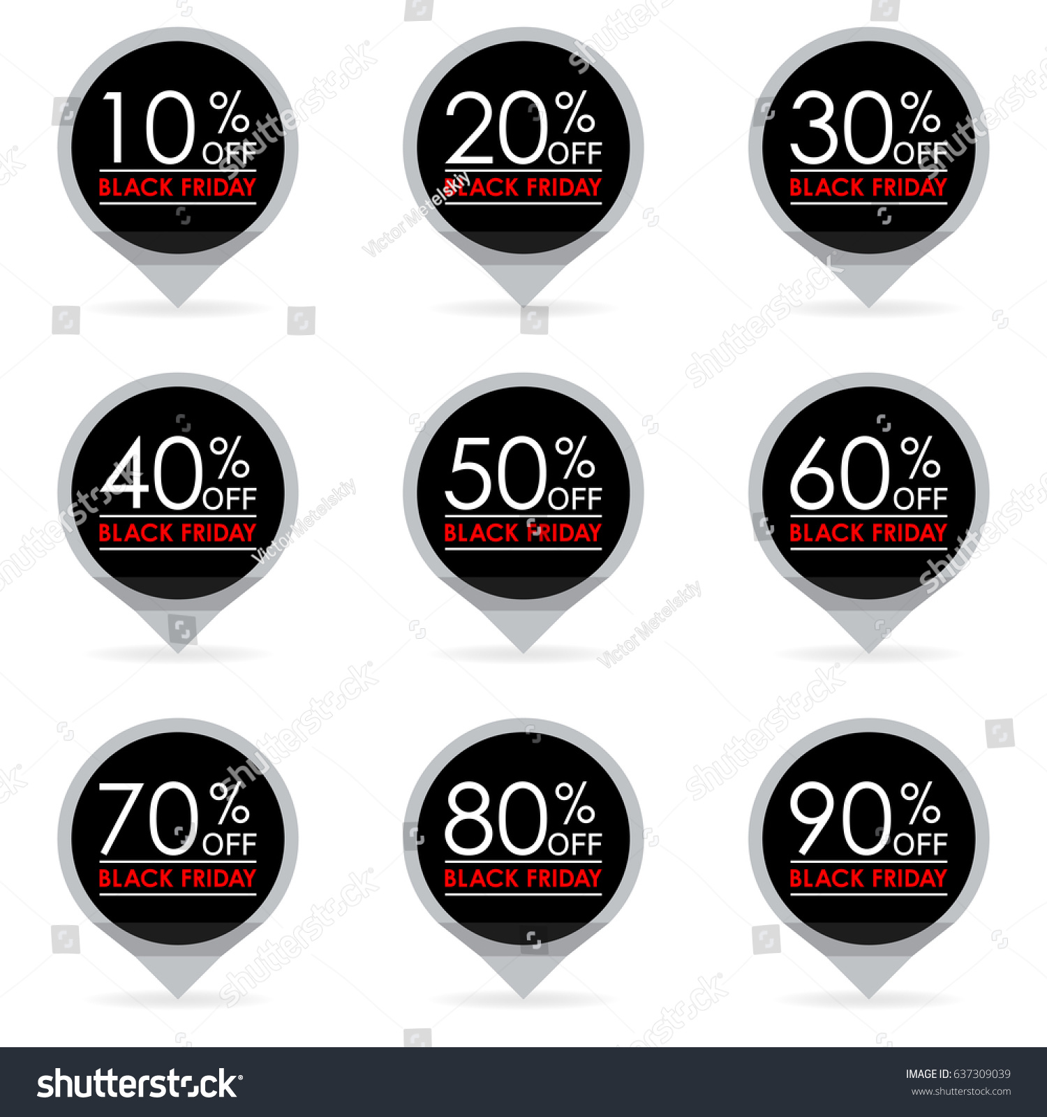 Black friday sale and discount pointer or sticker set 102030