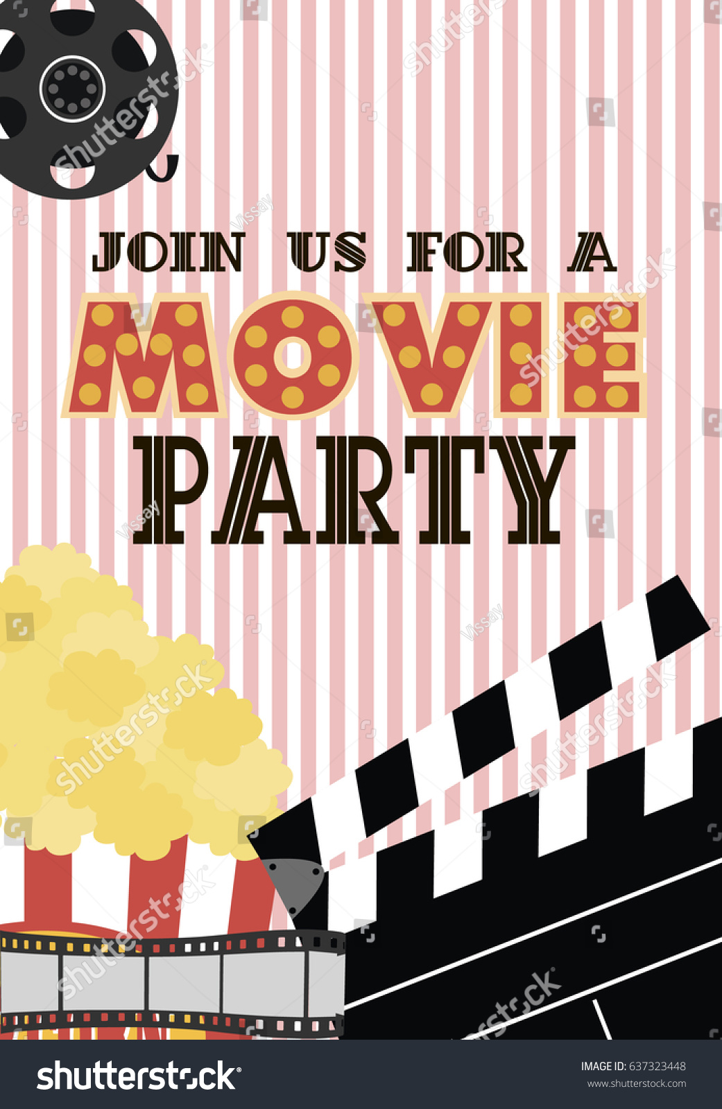 Movie Birthday Party Invitation Card Design Stock Photo (Photo ...
