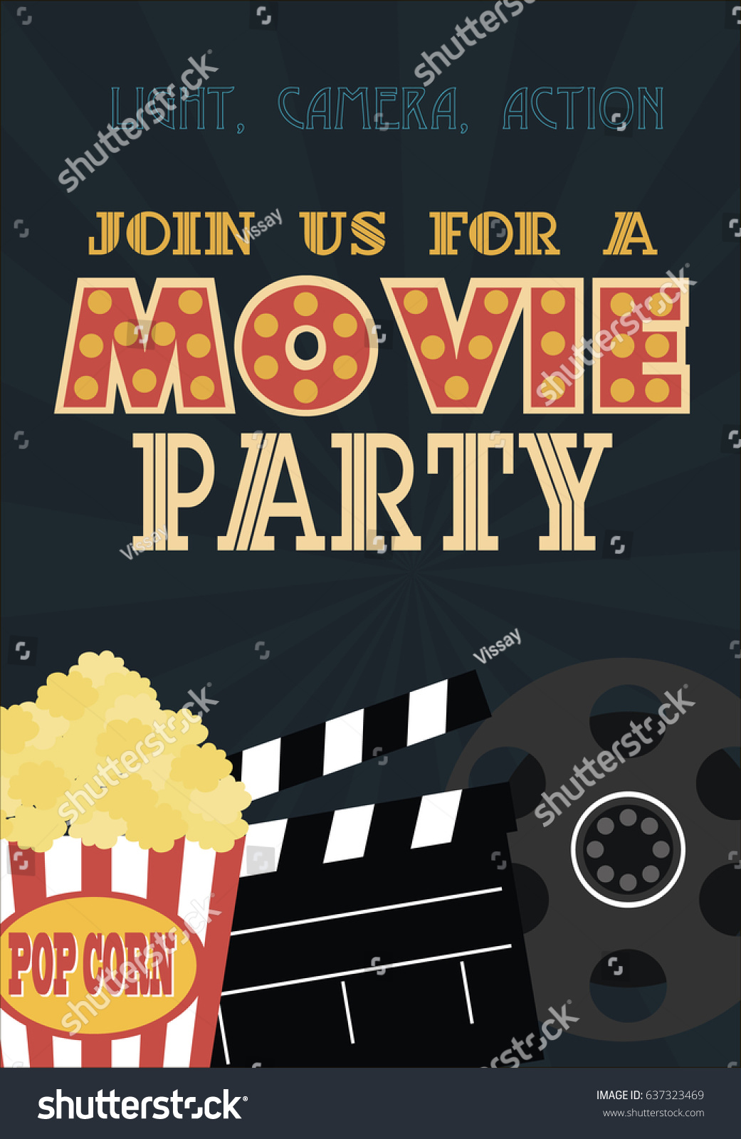 Movie Birthday Party Invitation Card Design Stock Vector 637323469 ...