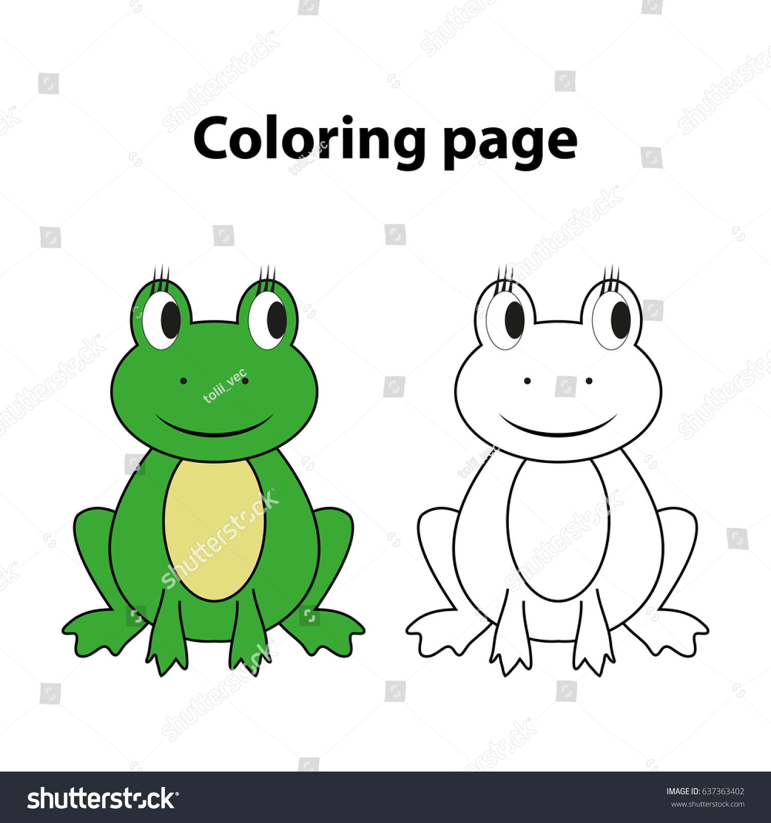 Frog Painting Page Game Children Worksheet Stock Vector 637363402 ...