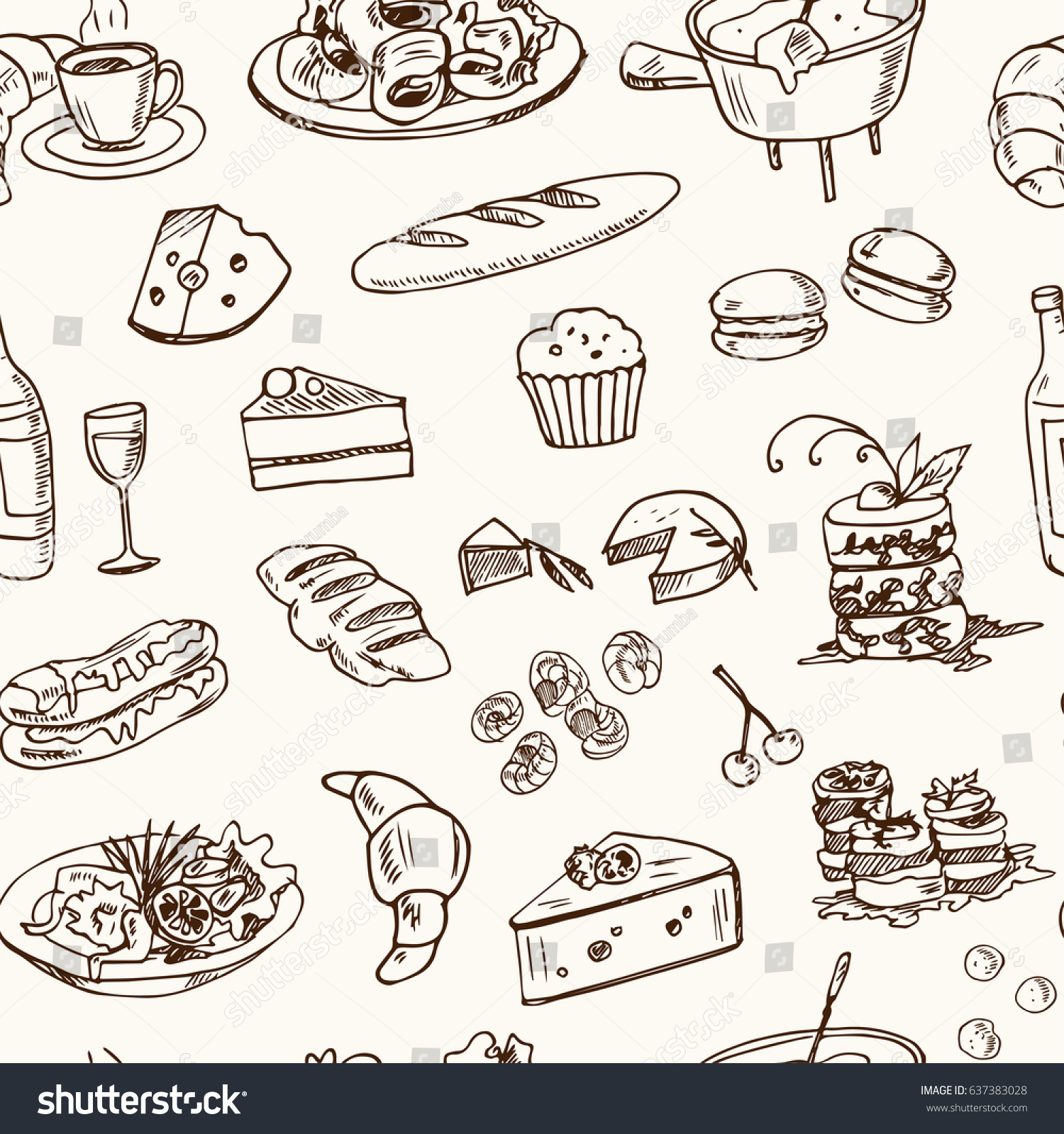 hand drawn french cuisine food sketches stock vector (royalty free