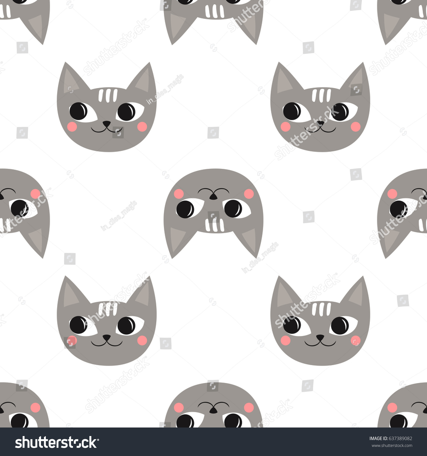 seamless pattern cute cats kids holidays stock vector 637389082