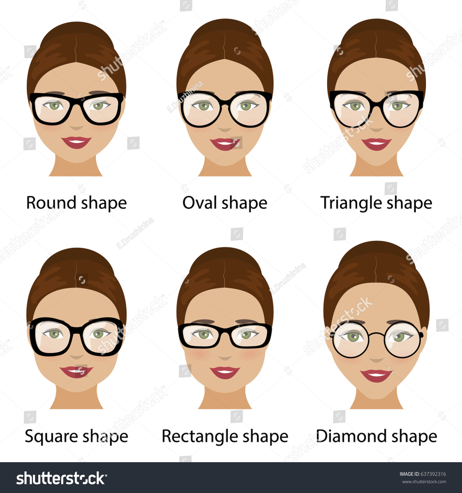 Spectacle Frames Shapes Different Types Women Stock Vector 637392316 ...