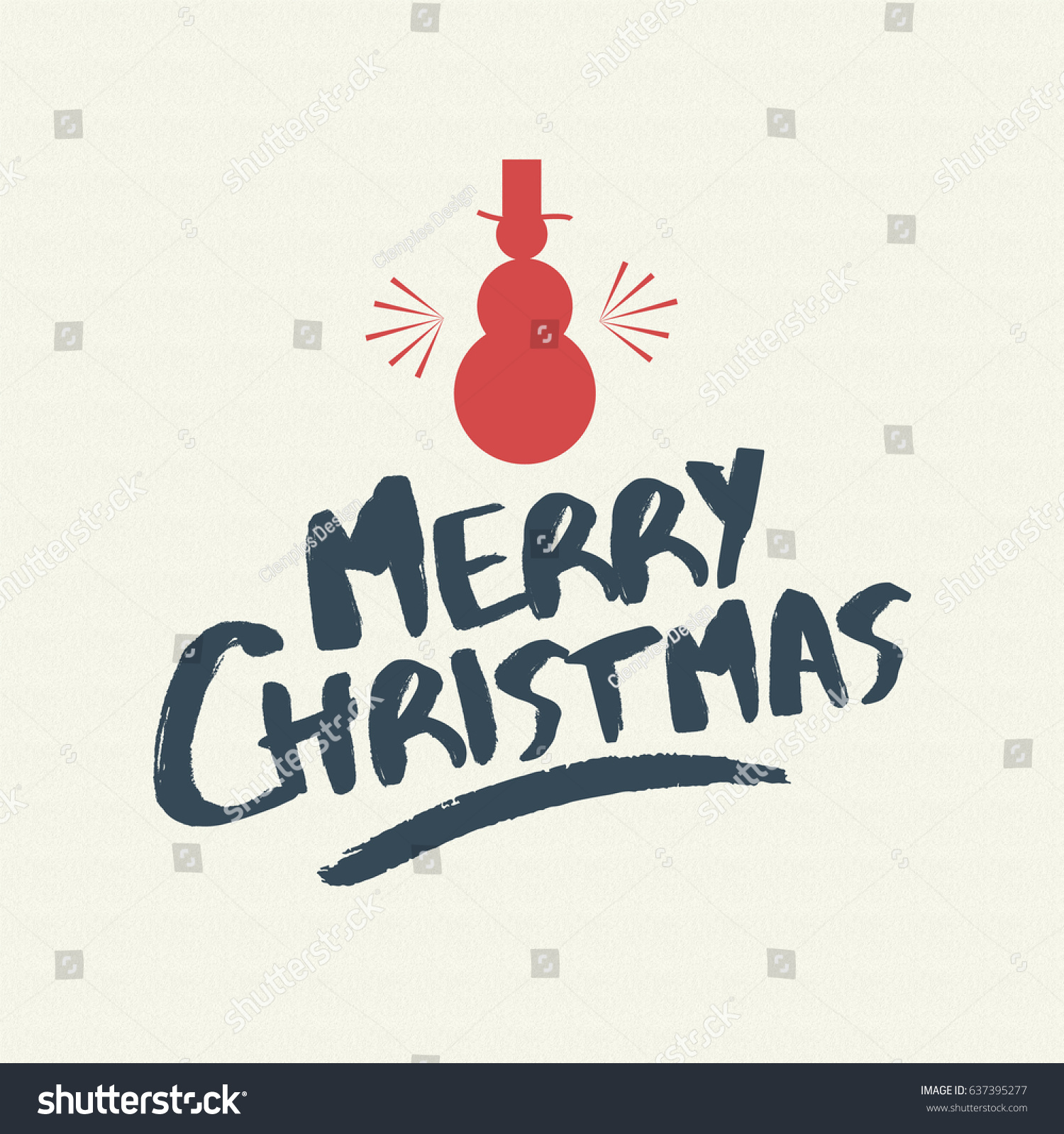 Merry Christmas Snowman Text Quote, Calligraphy Lettering Design For  Holiday Season. Creative Vintage Typography