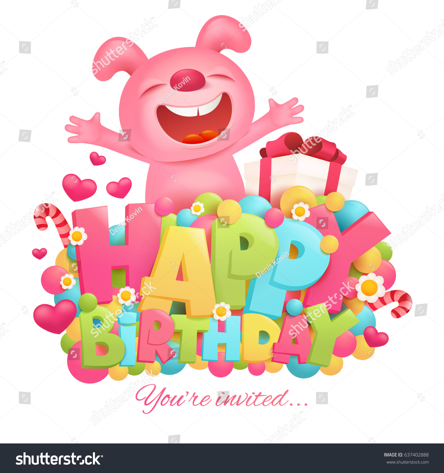 Happy Birthday Invitation Card Template Toy Stock Vector 637402888 ...