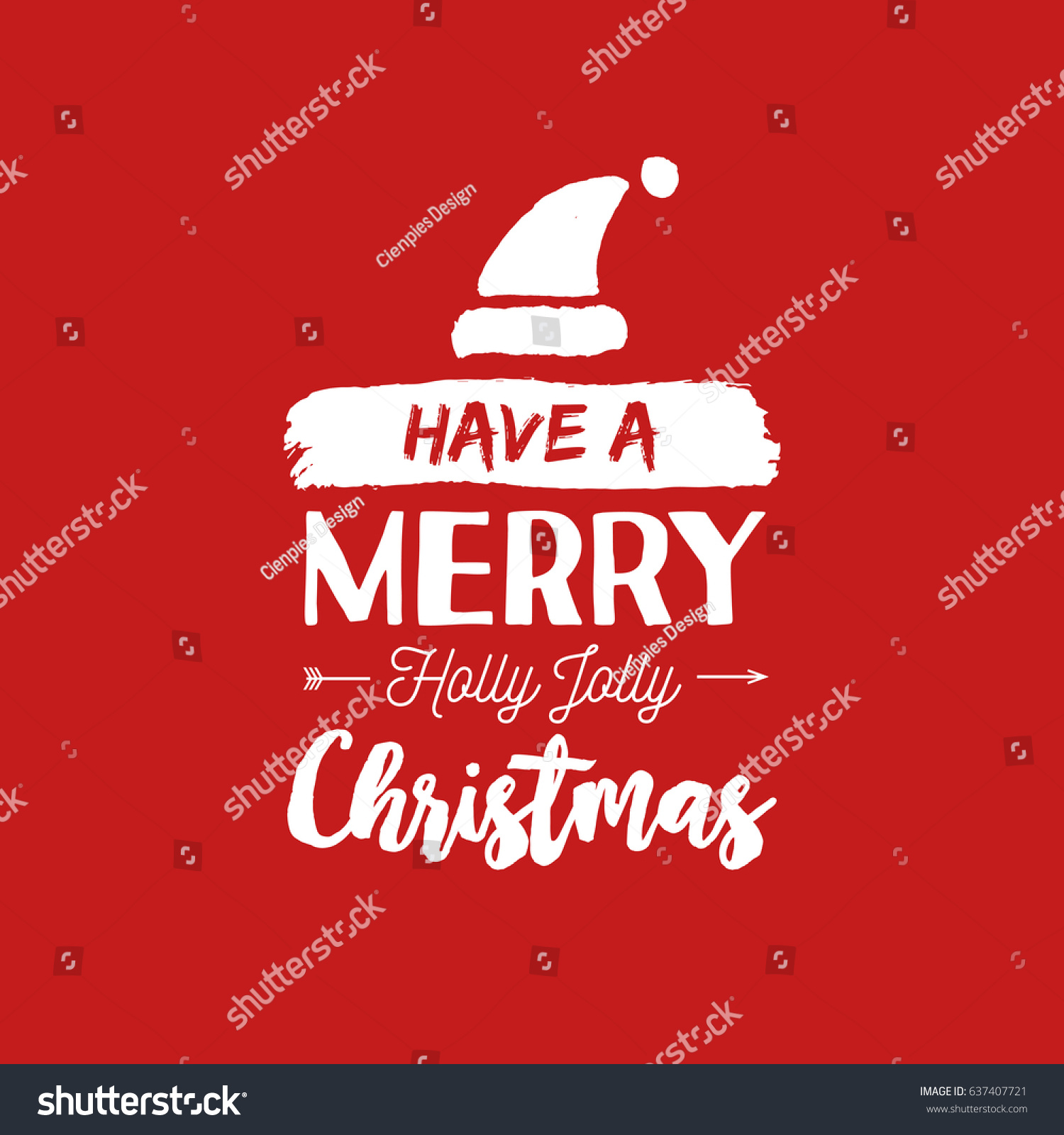 Merry Christmas Santa Hat Text Quote Stock Vector (Royalty Free ...