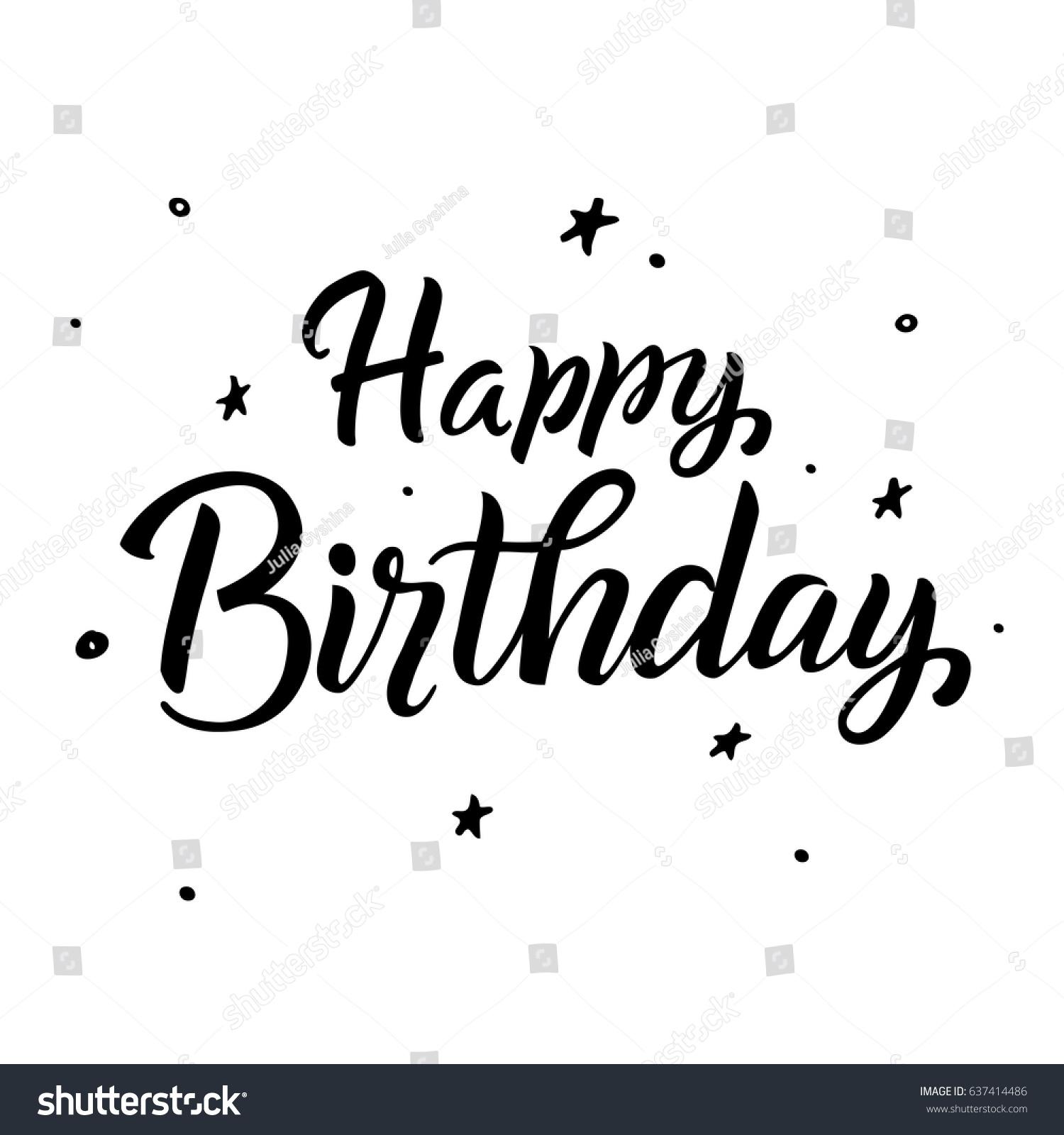 Happy Birthdaygreeting Card Calligraphy Black Text Stock