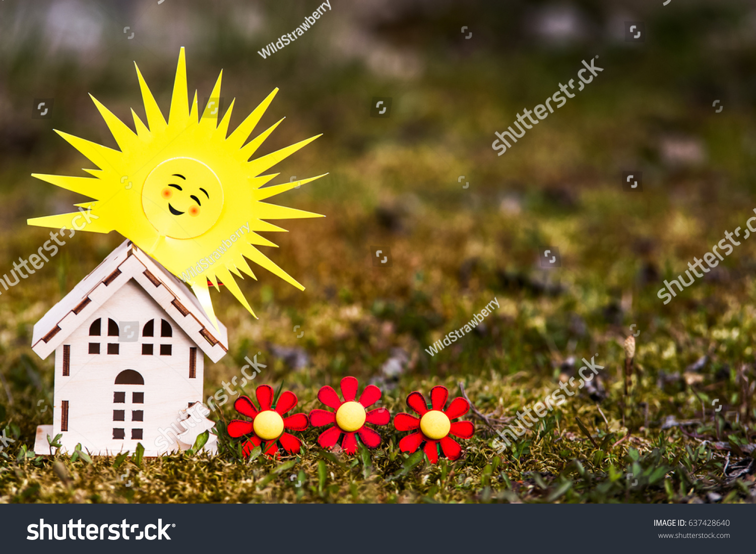 Toy house sun on beautiful background stock photo 637428640 toy house with a sun on a beautiful background symbol of happiness family and biocorpaavc Image collections