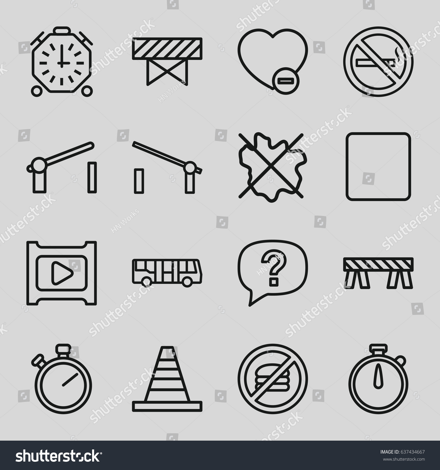 Stop icons set set 16 stop stock vector 637434667 shutterstock stop icons set set of 16 stop outline icons such as airport bus barrier biocorpaavc