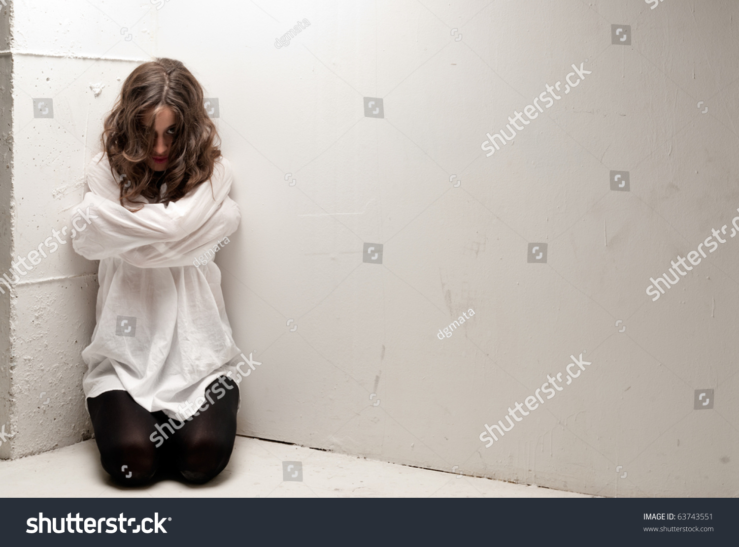 Young Insane Woman Straitjacket On Knees Stock Photo 63743551