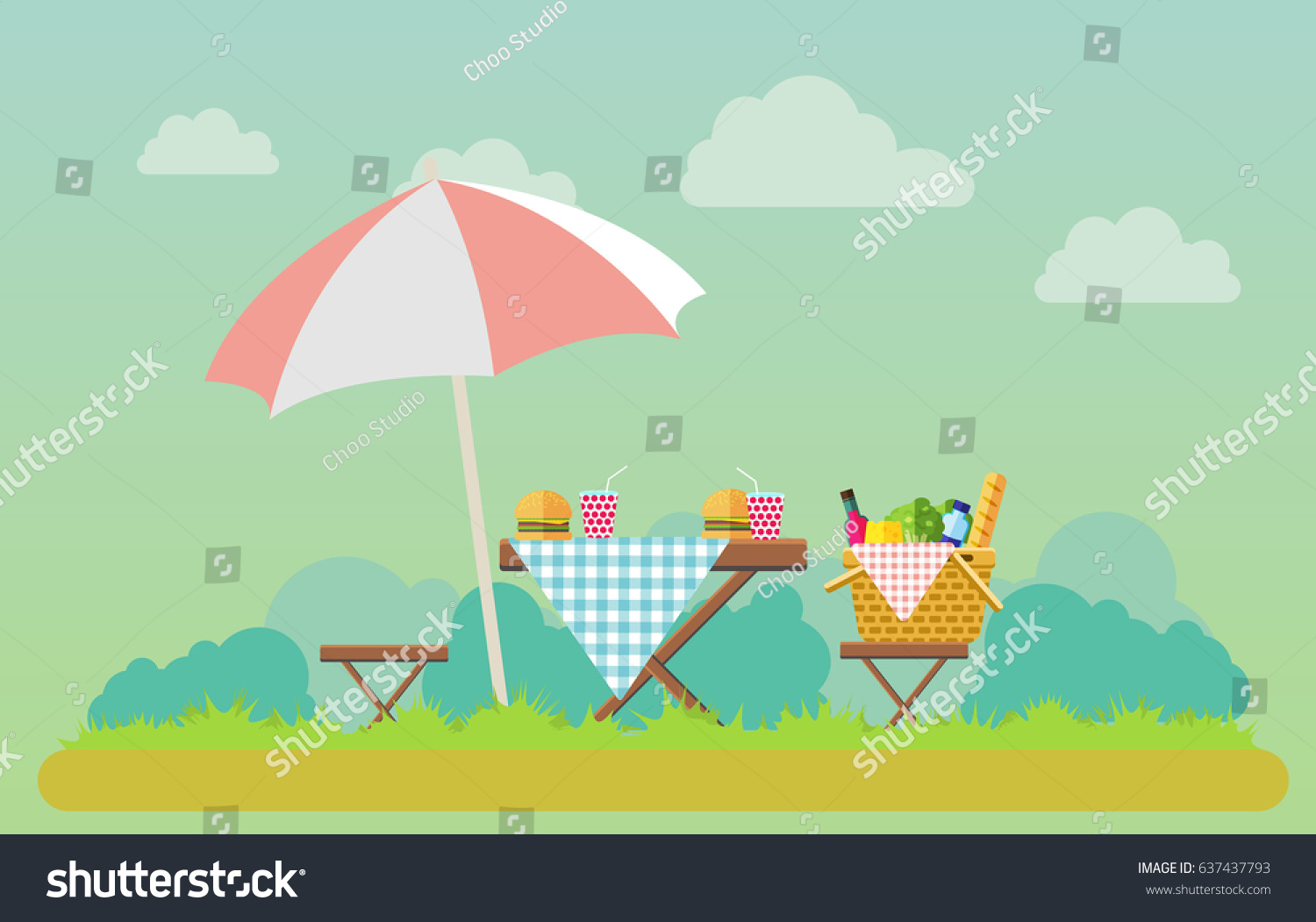 Outdoor Picnic In Park Vector Flat Style Illustration. Table Covered With  Tartan Cloth With Chairs