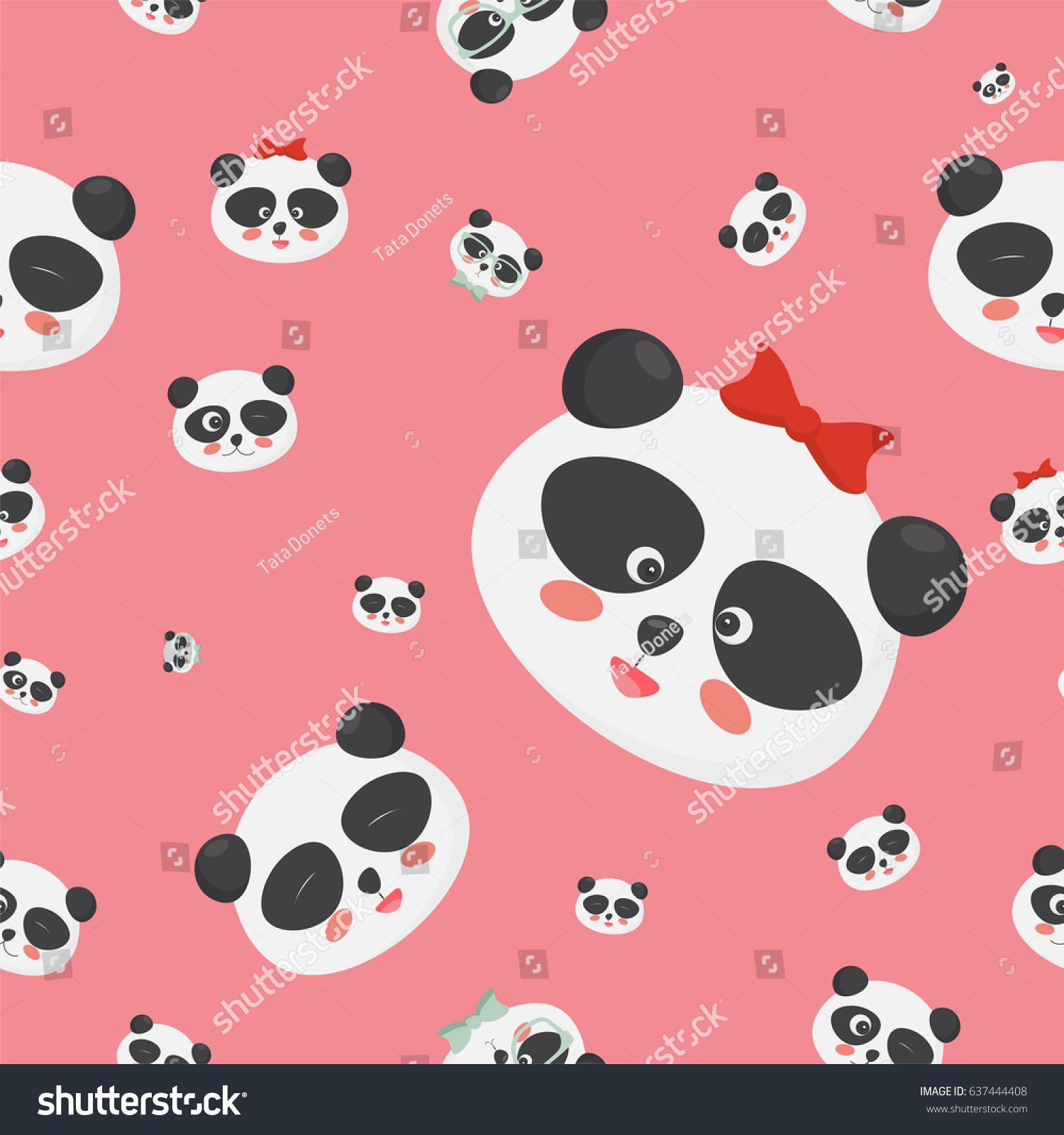 Vector Seamless Pattern Panda Bear Faces Stock Vector