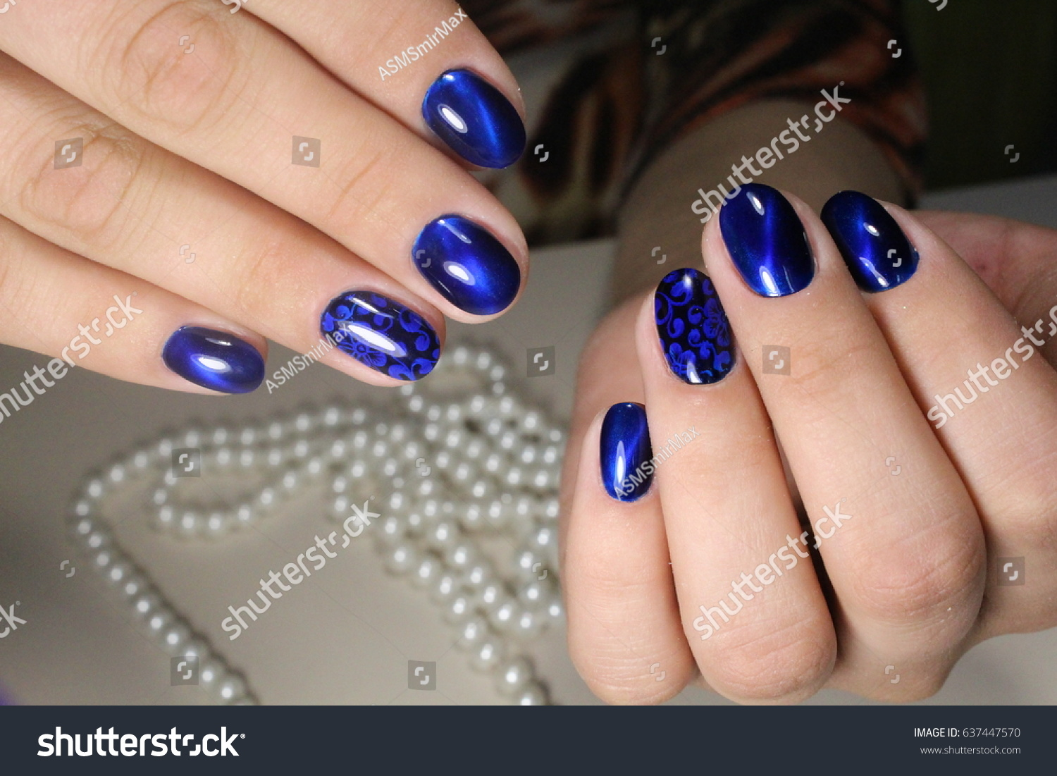 Manicure Design Blue Nails Stock Photo (Royalty Free) 637447570 ...