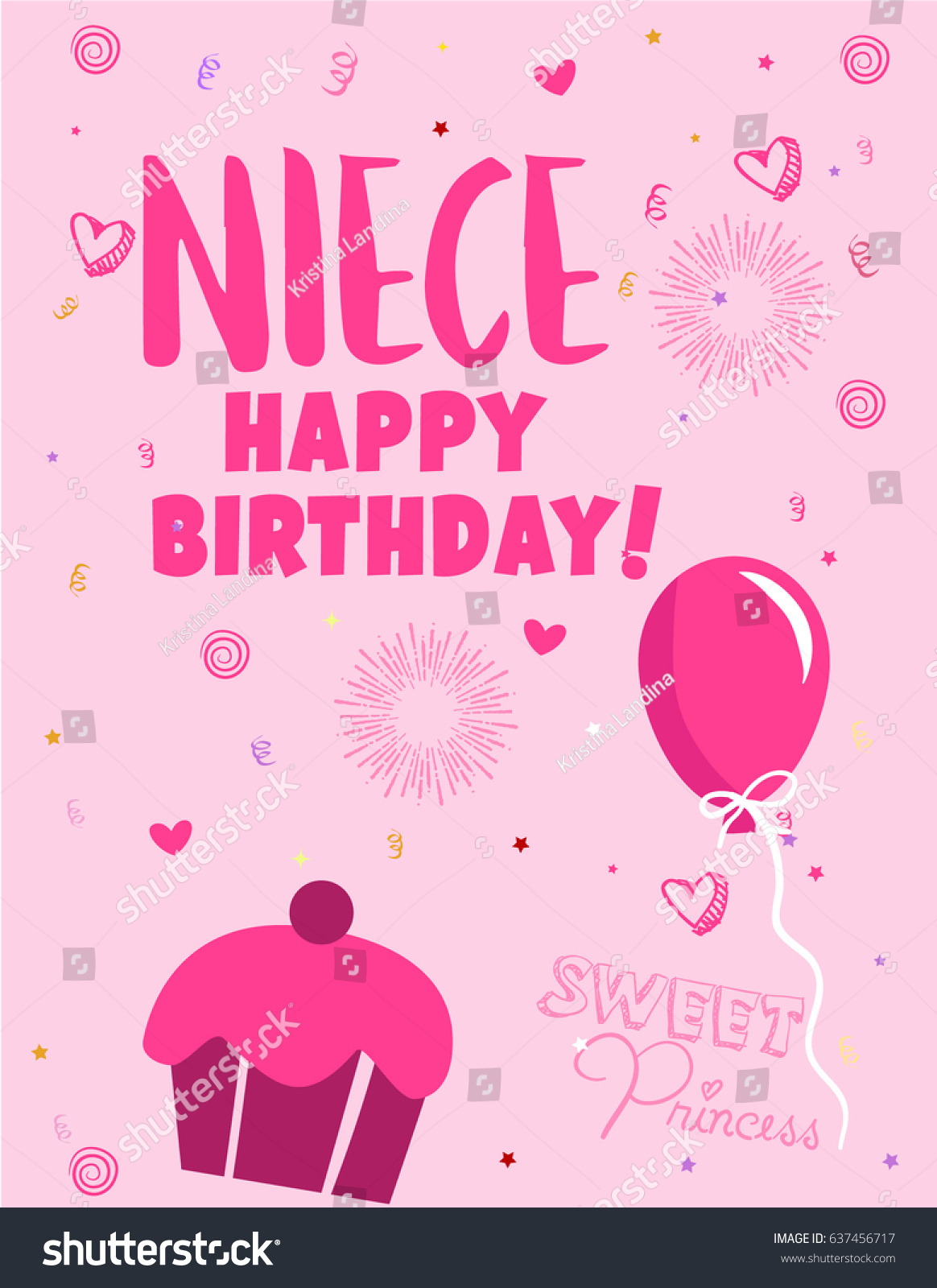 E Card Greeting Card Happy Birthday Niece Stock Vector Royalty Free