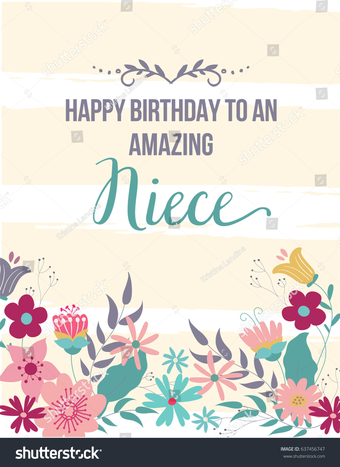 ECard Greeting Card Happy Birthday Amazing Niece Hand Drawn Design With Beige Stripes And Flowers