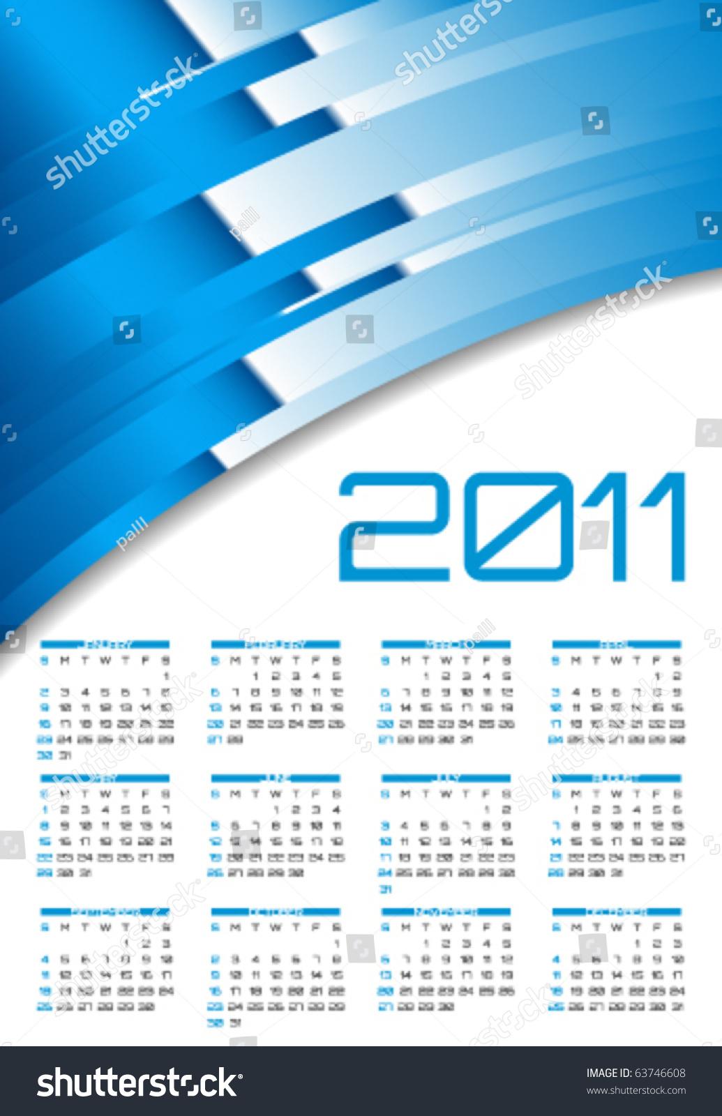 Calendar Illustration Template : Vector abstract calendar design template stock