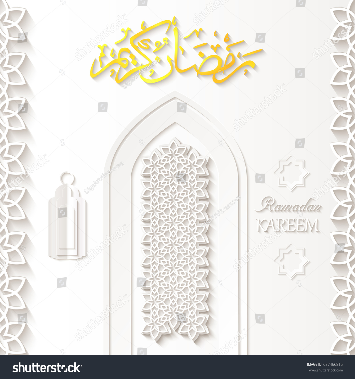 Islamic design mosque door greeting background stock vector islamic design mosque door for greeting background ramadan kareem with arabic lamp fanous rub el kristyandbryce Gallery